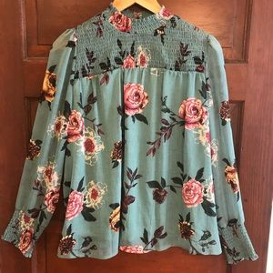 Ophelia Roe Boho Floral Top W/Smocked Neck & Cuff
